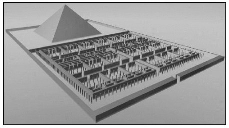 Египетският лабиринт. Реконструкция въз основата на разкопките на сър Флиндърс Петри.